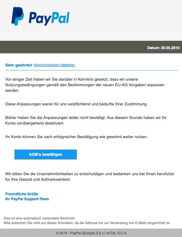 2019-05-20 Paypal Fake-Mail Deaktivierung Ihres Benutzerkontos