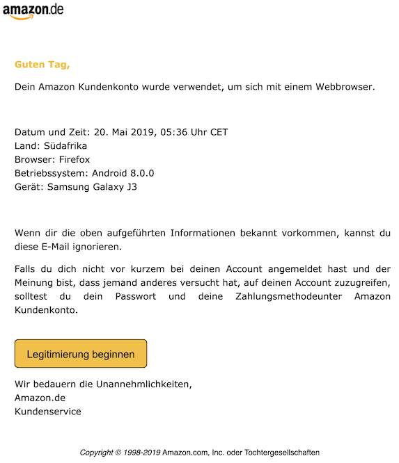 2019-05-20 Phishing Amazon