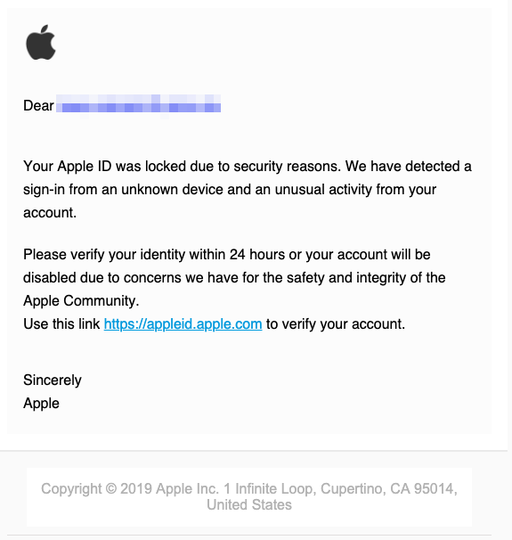 2019-05-22 Apple-Phishing Fake-Mail Your Appłe ID has been locked