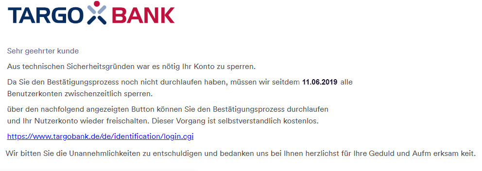 2019-06-10 Targobank Spam-Mail Phishing Verpflichtend Überpruefung