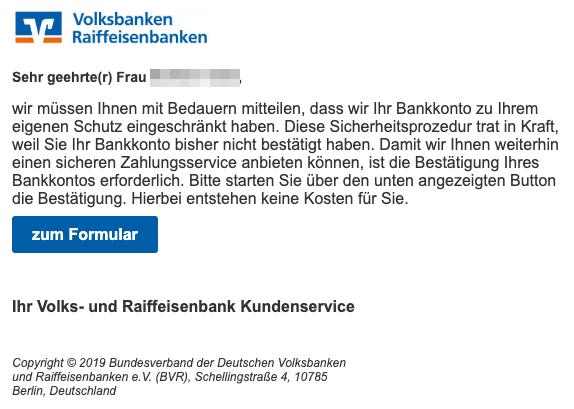 2019-06-11 Volksbank Spam-Mail Neue Benachrichtigung Ihrer Volks- und Raiffeisenbank