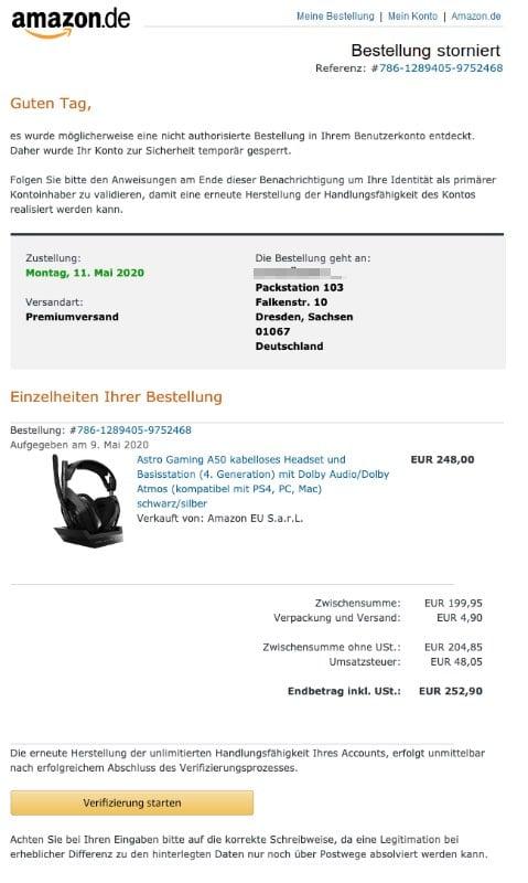 2020-05-11 Amazon Fake-Mail Ihre Amazоn.de Bestellung – Massnahme erforderlich