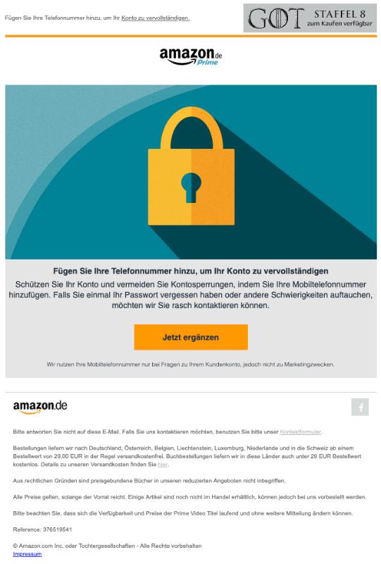 Amazon E-Mail Fügen Sie Ihre Telefonnummer hinzu um Ihr Konto zu vervollständigen