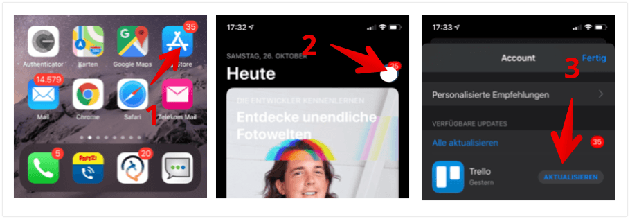 Anleitung iOS App-Updates anzeigen