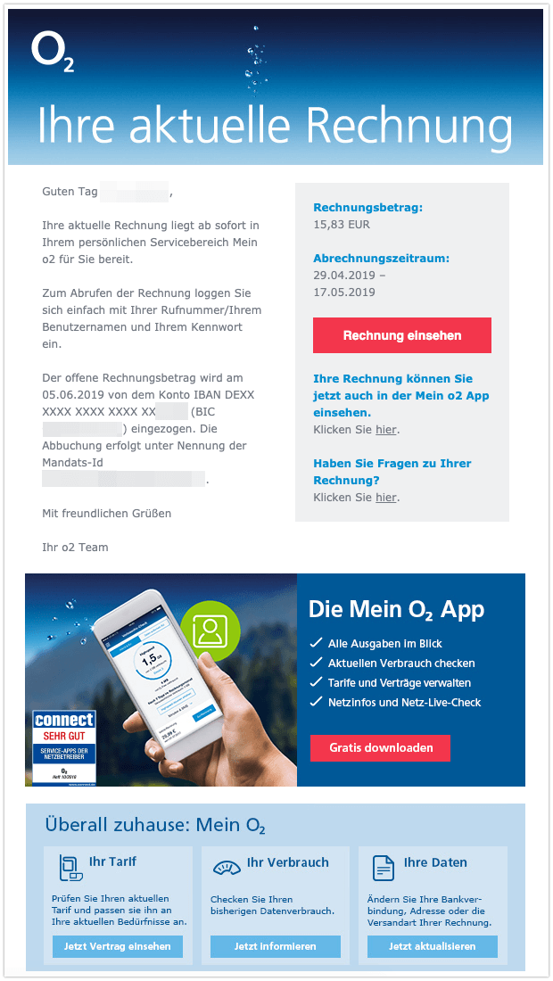 O2 Rechnung Mail