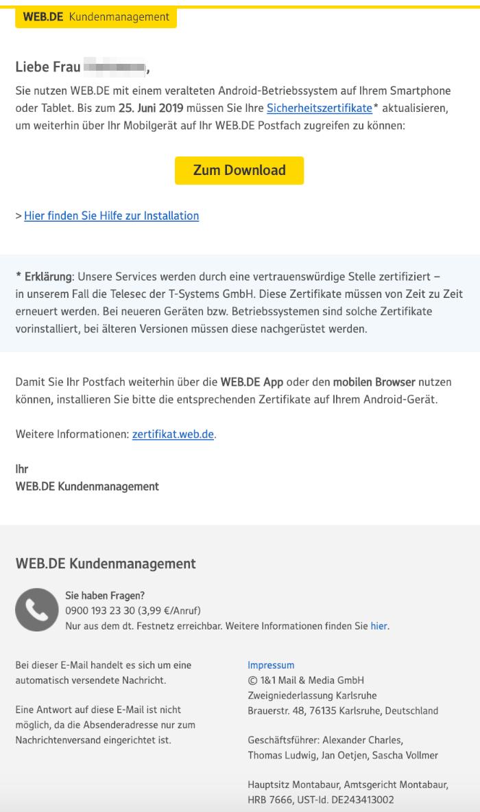 2019-06-04 web-de E-Mail Ihr Betriebssystem ist veraltet