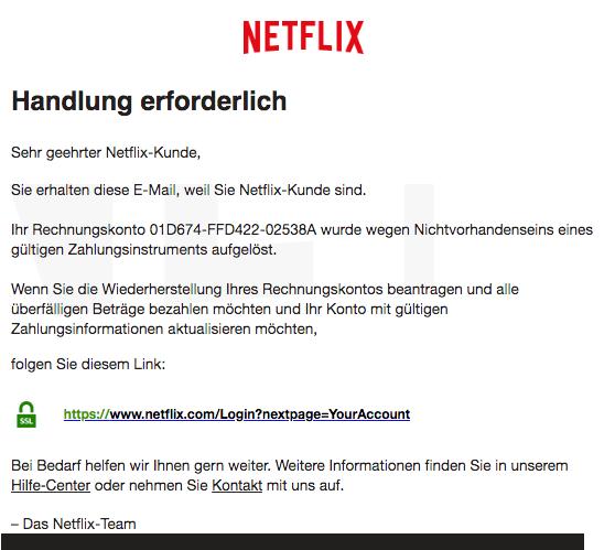 2019-06-06 Netflix Spam-Mail Aktion erforderlich- Ihr Rechnungskonto wurde gesperrt