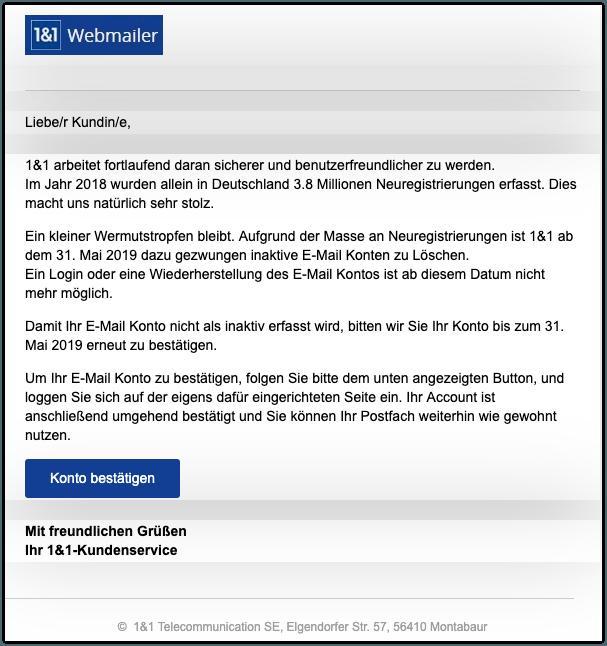 26ce142115 Phishing-Nachrichten im Namen von 1&1 Internet SE - Vorsicht Spam