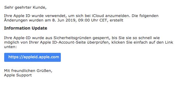 2019-06-09 Apple Spam-Mail Apple ID Benachrichtigung