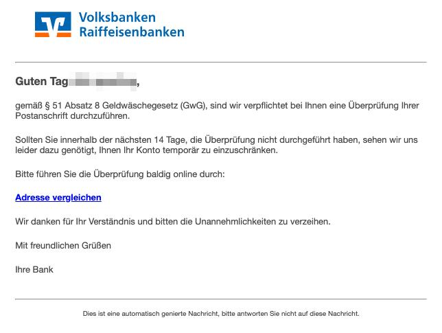 2019-06-12 Volksbank Spam-Mail Geldwaesche- Neue Richtlinie tritt in Kuerze in Kraft