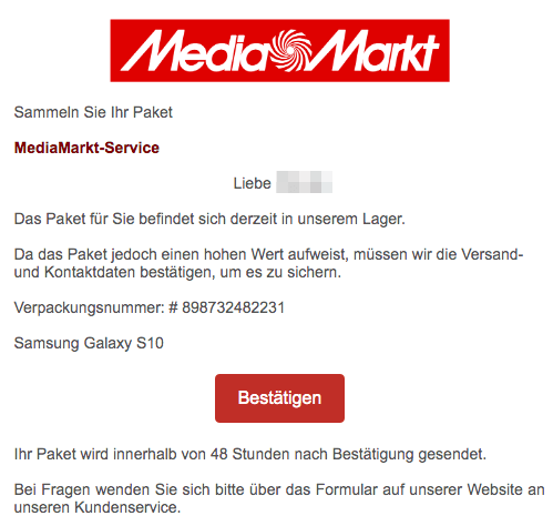 2019-06-13 Media Markt Fake-Mail Abofalle Paket wird in unserem Lager vorbereitet