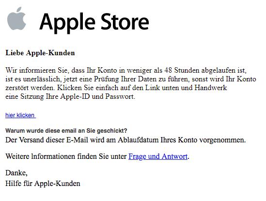 2019-06-14 Apple Spam Mail Zugriff auf Ihren Apple