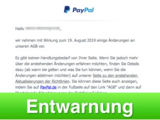 2019-06-15 PayPal E-Mail Anstehende Aenderungen der AGB von PayPal