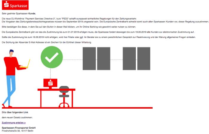 2019-06-15 Sparkasse Spam-Mail EILMELDUNG- Die Sparkasse fordert Kunden elektronischen Zustimmung PSD2 Richtlinien
