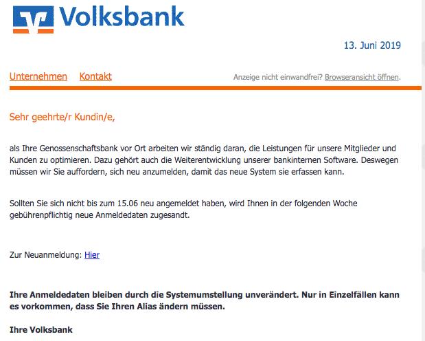 2019-06-16 Volksbank Spam-Mail Systemumstrukturierung - Handlungsbedarf