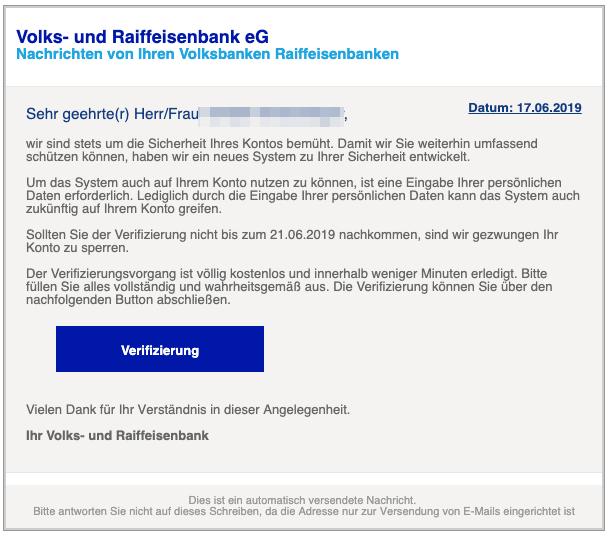 2019-06-17 Volksbank Spam Mail Änderungen an unseren Nutzungsbedingungen