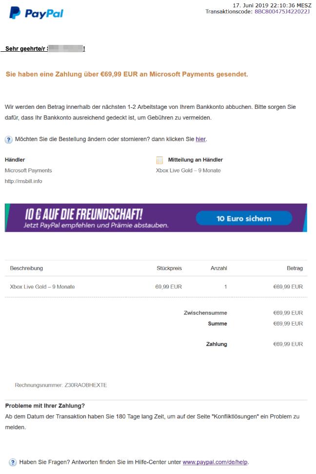 2019-06-18 PayPal Spam-Mail Ihre Zahlung war erfolgreich