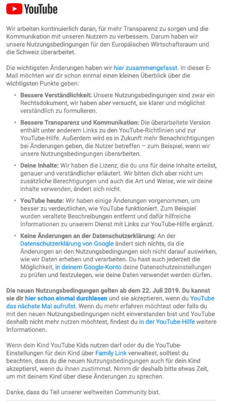 2019-06-20 E-Mail YouTube neue Nutzungsbedingungen