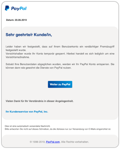 2019-06-20 PayPal Spam-Mail Wichtiger Hinweis an alle Nutzer