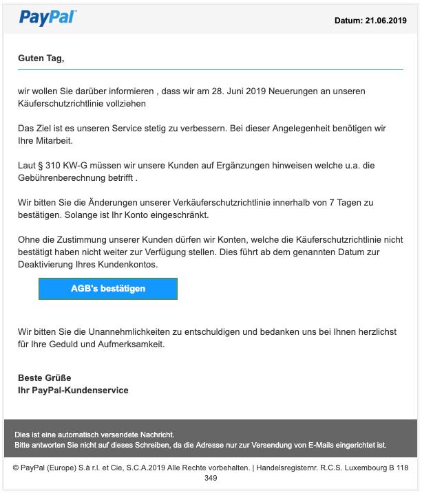 2019-06-21 PayPal Spam-Mail Mögliche Einschränkung