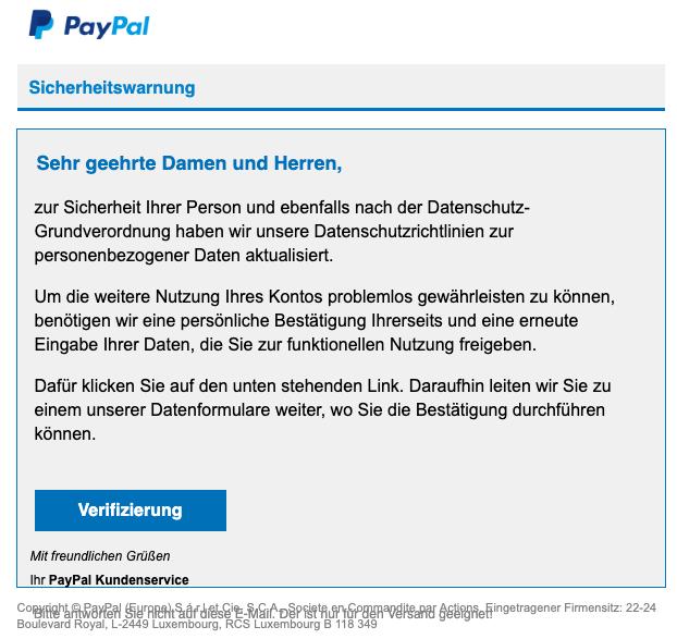 2019-06-21 PayPal Spam-Mail Sicherheitsmitteilung