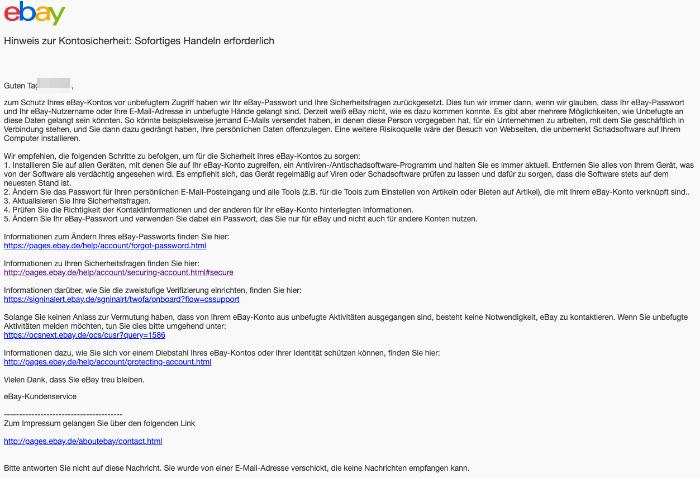 2019-06-21 ebay Spam-Mail Hinweis zur Kontosicherheit- Sofortiges Handeln erforderlich