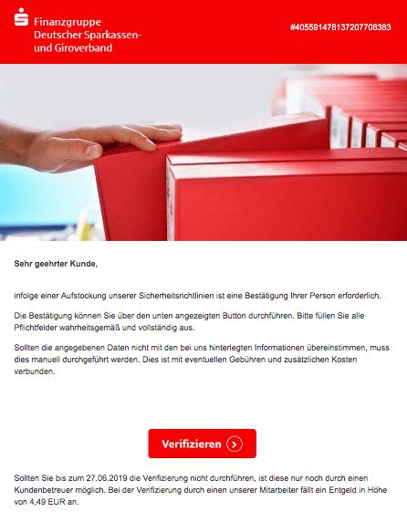 2019-06-24 Sparkasse Spam-Mail Massnahme erforderlich