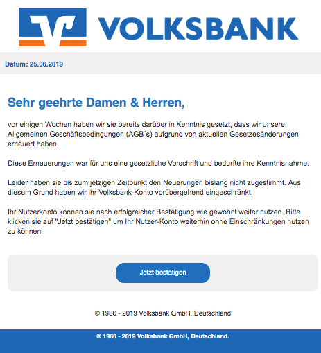 2019-06-25 Volksbank Spam-Mail Wir wollen Ihren Schutz