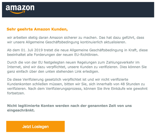 2019-06-26 Amazon Spam-Mail Phishing Sicherheitswarnung