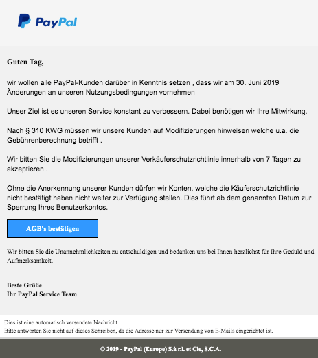 2019-06-26 PayPal Spam-Mail Phishing Konto Schliessung