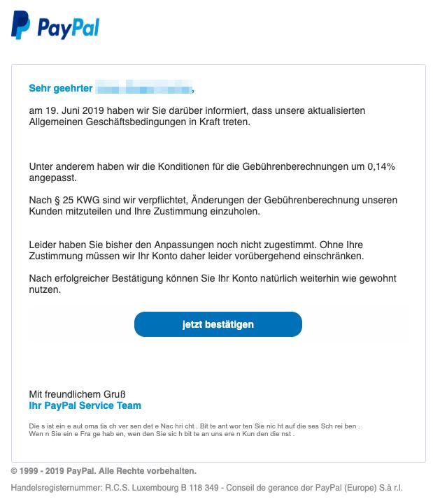 2019-06-28 PayPal Spam-Mail PayPal Ihr Konto wurde eingeschraenkt