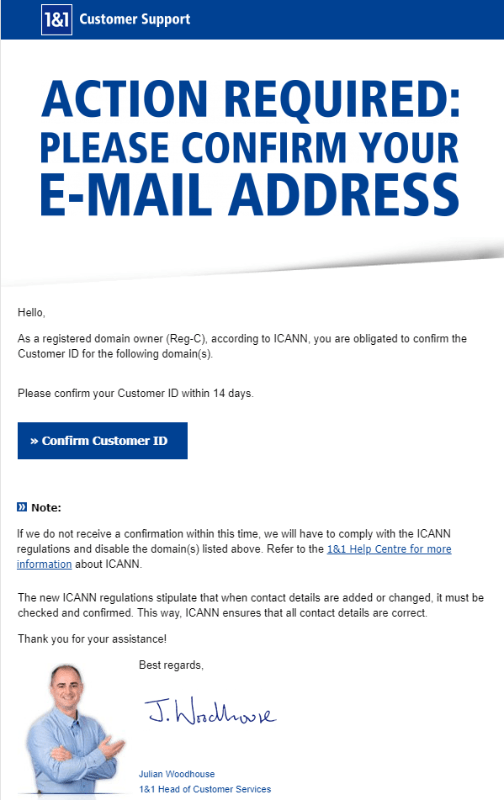 2019-07-01 1und1 Spam-Mail Action Required