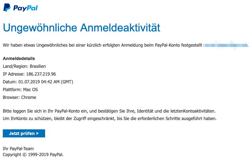 2019-07-01 PayPal Fake-Mail PayPal-Konto ungewoehnliche Anmeldeaktivitaet