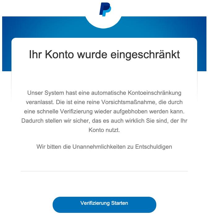 2019-07-01 PayPal Phishing-Mail Ihr Konto wurde eingeschraenkt