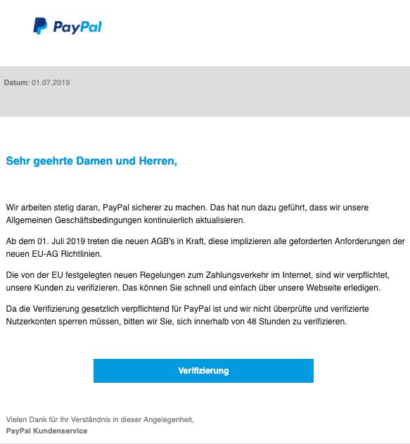 2019-07-01 PayPal Spam-Mail Sicherheitsmitteilung