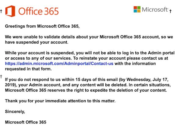 2019-07-04 Phishing Microsoft