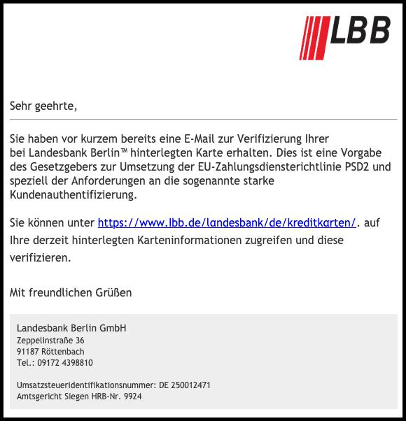 2019-07-09 Landesbank Berlin LBB Spam-Mail LBB-KartenService Probleme mit Ihrem Kartenkonto