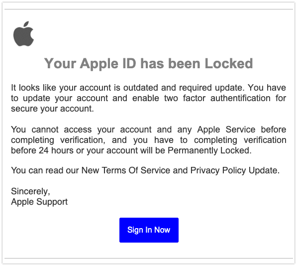 2019-07-11 Apple Phishing-Mail Apple ID Information