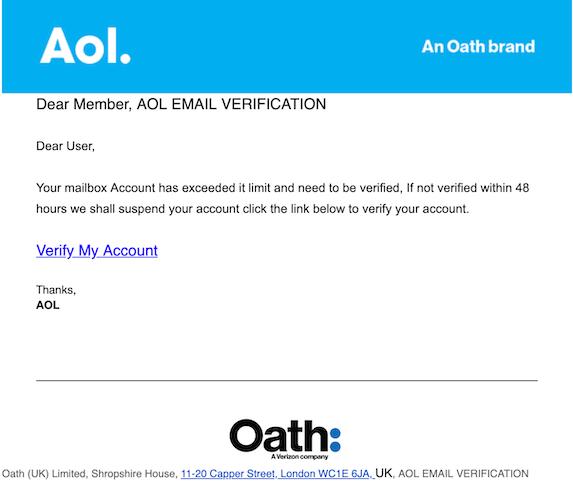 2019-07-18 Phishing AOL EMAIL VERIFICATION
