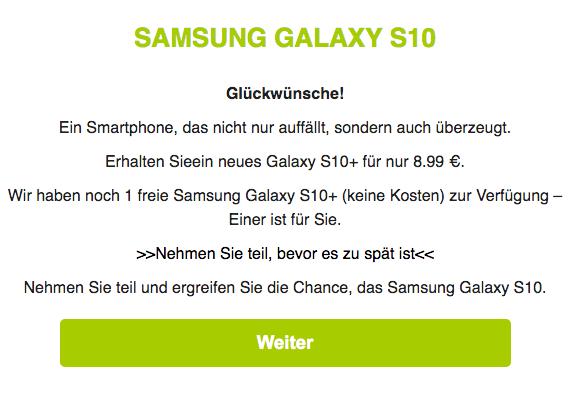 2019-07-28 Samsung Spam-Mail Das neue Samsung Galaxy S10 nur 8.99