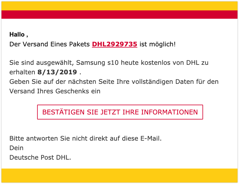 2019-08-14 DHL Fake-Mail Samsung Handy Abofalle
