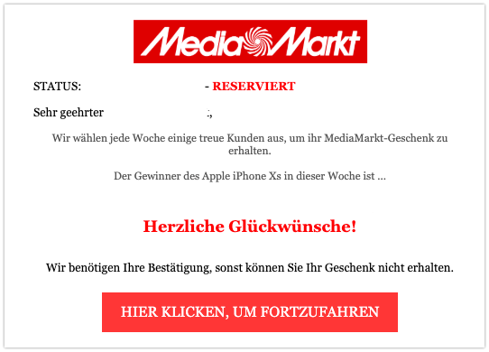 2019-09-04 MediaMarkt Spam-Mail Gewinn Apple iPhone XS