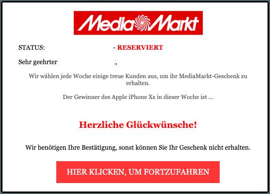 2019-09-04 MediaMarkt Spam-Mail Gewinn Apple iPhone XS