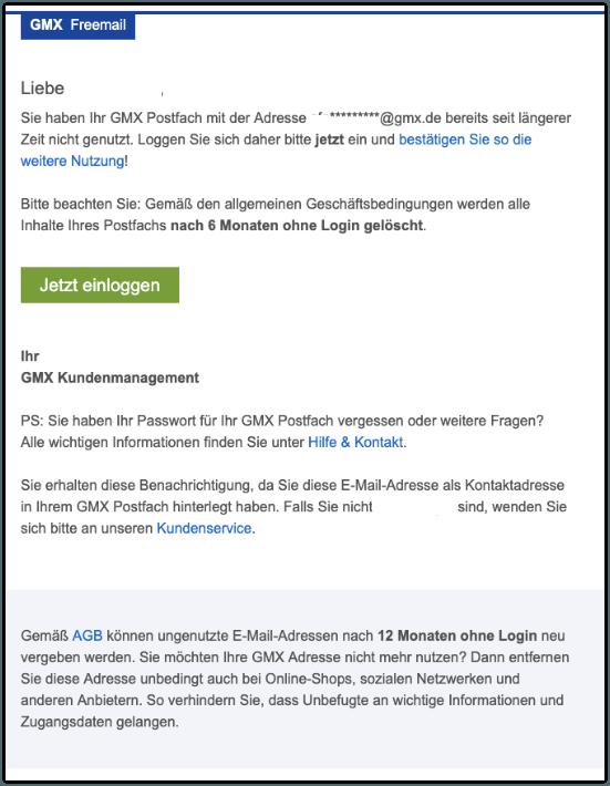 2019-09-05 GMX-Mail Inaktivitätswarnung- GMX Postfach-Inhalt wird demnächst gelöscht