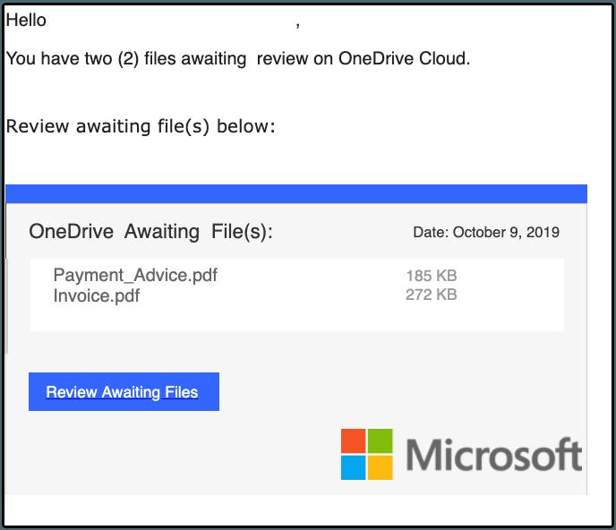 2019-10-09 Microsoft Onedrive Spam-Mail A User sent you 2 files using OneDrive