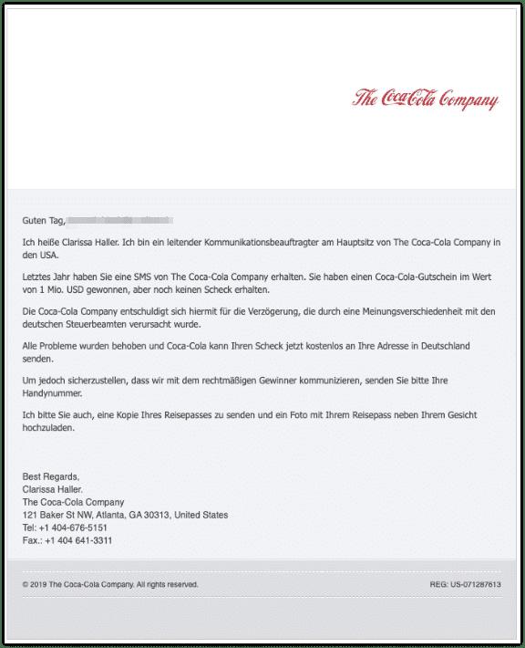 2019-10-27 Coca Cola Fake-Mail Wichtige Angabe Gewinn