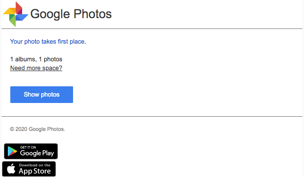2020-05-03 Google Photos Spam Fake-Mail Your photo takes first place