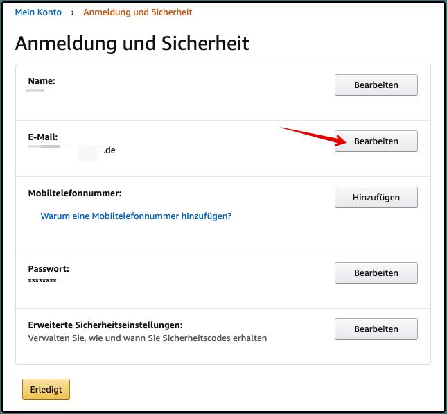 Amazon Mail Datenabgleich