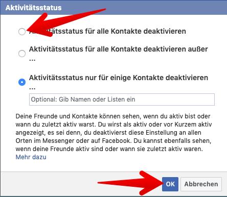 facebook zuletzt online deaktivieren