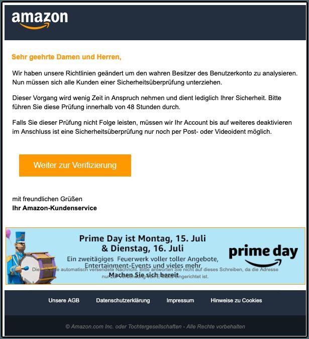 2019-07-03 Amazon Spam-Mail Sicherheitsueberpruefung - Konto deaktiviert